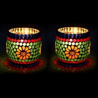 EarthenMetal Glass 1 - Cup Tealight Holder Set (Green, Red, Pack Of 2)