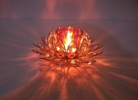 Inspiration World Red Crystal Lotus Glass Tealight Holder (Red, Pack Of 1)