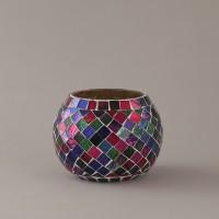 Indecrafts Glass 1 - Cup Tealight Holder (Multicolor, Pack Of 1)