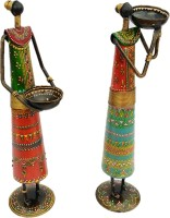 Sancheti Art 13 Inches Tall Masai Figurine Cast Iron 2 - Cup Tealight Holder Set (Green, Orange, Blue, Multicolor, Pack Of 2)