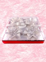 Bagrab Floating Flower Candles - Gift Pack Candle (Silver, Pack Of 4)