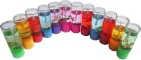 Dizionario Decorative 12 Glass Gel Candle (Multicolor, Pack Of 12)