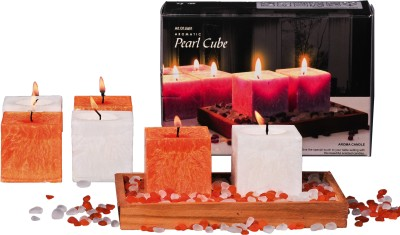 DECO Aro Aromatic Pearl Cube Candle (Orange, White, Pack Of 6)