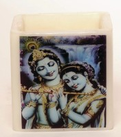Artistique Radha Krishna Hurricane 4X4X4 Candle (Multicolor, Pack Of 1)