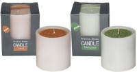 DECO Aro Pristine Aroma Candle (Orange, Green, Pack Of 2)