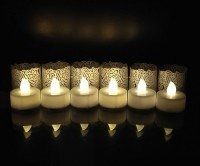 WhitePavo Flickering LED TeaLight - White Flame With Pearl White Rose Designer Paper Votive Wraps And Candle (White, Pack Of 6)