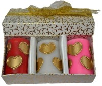 Tvish Candles Valentine Gift Set - Golden Hearts 2x3 Box Set Candle (Multicolor, Pack Of 3)
