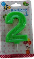 Funcart Glitter Numerical Number Two Shape Candle (Green, Pack Of 1)