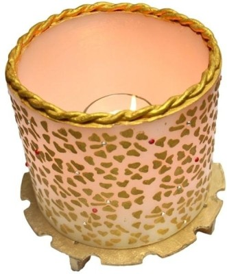 Tvish Candles 6 X 5 -White And Gold Floral Rhapsody Glow Candle Candle (White, Pack Of 1)