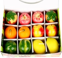 Ghasitaram Gifts Md14fruitcandles Candle (Multicolor, Pack Of 12)