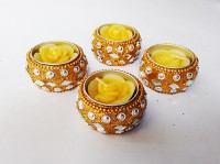 Zanky Elegent T Light With Holder Candle (Yellow, Pack Of 4)