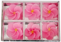 Indigo Creatives Classy Floral Floating 6 Nos Wax Gift Set Candle Candle (Pink, Pack Of 6)