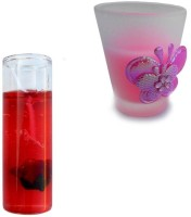 Smartkshop Designer Short Glass And Glass Gel Combo Candle (Multicolor, Pack Of 2)