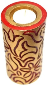 Tvish Candles Valentine Gift -Red and gold floral with tealight candle Candle