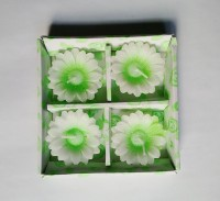 Zanky Flower Shaped Candle (Green, Pack Of 4)
