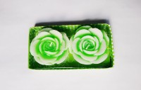 Zanky Rose Shaped Candle (Green, Pack Of 2)