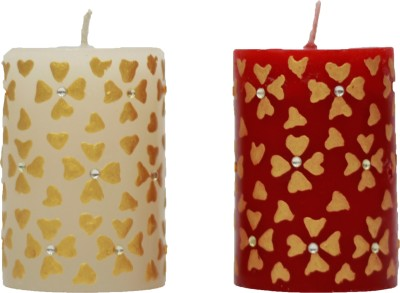 Tvish Candles Decorative Floral Rhapsody Candle (Red, White, Pack Of 2)