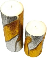Tvish Candles Set Of Two Flame Of The Forest Round Candle (White, Pack Of 2)