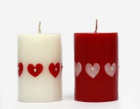 Tvish Candles Valentine Gift Set -Set Of Two Little Hearts Candle (White, Red, Pack Of 2)
