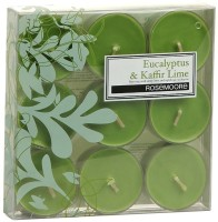 Rosemoore Scented Tea Lights - Eucalyptus & Kaffir Lime Candle (Green, Pack Of 9)