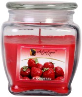 Artistique 12 Oz Square Footed Jar Fragrance (Strawberry) Candle (Red, Pack Of 1)