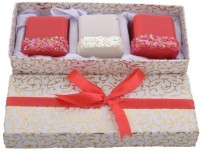 Tvish Candles Valentine Gift Set - Elegant Lady 2x2x2 Box Set Candle (White, Red, Pack Of 3)