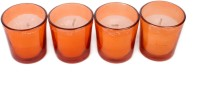 Silverlight Orange Glass Votive Candle (Orange, Pack Of 4)