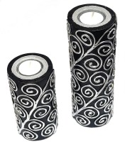 Tvish Candles Set Of Two Black And Silver With Tealight Candle (Black, Pack Of 2)