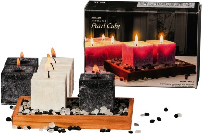 DECO Aro Aromatic Pearl Cube Candle (Black, White, Pack Of 6)