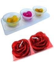 Smartkshop Heart Mould And Designer Rose Mould Set Of 5 Candle (Multicolor, Pack Of 5)