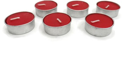 Indian Reverie Rose Scented Tea Lights Candle (Red, Pack Of 6)
