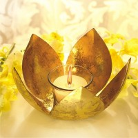 Borosil Lotus Tea Light Candle (Gold, Pack Of 1)