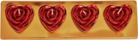 Indigo Creatives Heart Shaped Elegant Rose Candle (Red, Pack Of 4)