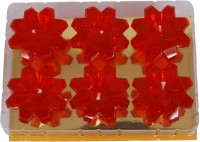Divsam Party Light Decorative Floral Red Rushlight Candle (Red, Pack Of 6)