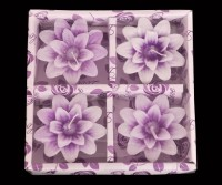 Indigo Creatives Classy Flower Floating 4 Nos Wax Gift Set Candle Candle (Purple, Pack Of 4)