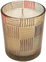 GolMaalShop Printed Glass Wax Votive Candle (Multicolor, Pack Of 1)