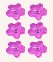 Smartkshop Flower Perfumed Set Of 6 Floating Gel Candles Candle (Pink, Pack Of 6)