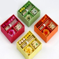 Ghasitaram Gifts Set Of 4 Incense Sets (Square) Candle (Multicolor, Pack Of 4)