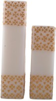 Tvish Candles Set Of Two White And Gold Floral Rhapsody Square Candle Candle (White, Pack Of 2)
