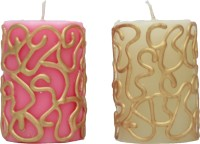 Tvish Candles Decrative Doodles Candle (Pink, White, Pack Of 2)