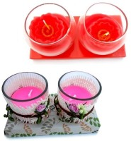 Smartkshop Designer Spotted Cup Scented And Gifts Scented In A Rose Set Of 4 Candle (Multicolor, Pack Of 4)