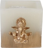 Artistique Traditional Ganpati Hurricane Candle (Gold, White, Pack Of 1)
