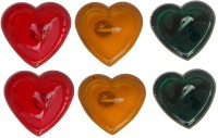 Rasmy Candles Heart Shape Gel Candle (Multicolor, Pack Of 6)