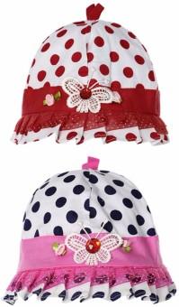 Littly Polka Print Designer Baby Cap Pack Of 2