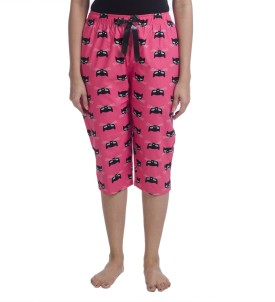 Nite Flite Cat Print Cotton Lounge Capris Women's Pink, Black Capri