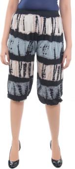 Apple Knitt Wear Black Cotton Printed Harem 3/4 Women's Capri
