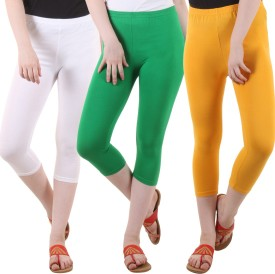 Fasha Women's White, Green, Yellow Capri