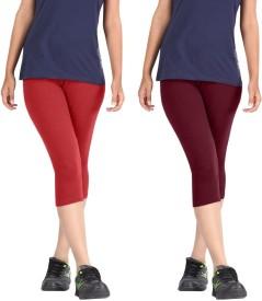 Rooliums Super Fine Cotton Capri Leggings Women's Red, Maroon Capri