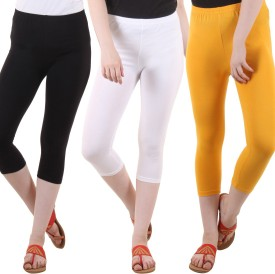 Diaz Women's Black, White, Yellow Capri