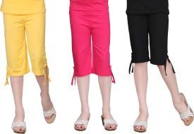 Sinimini Girl's Yellow, Pink, Black Capri